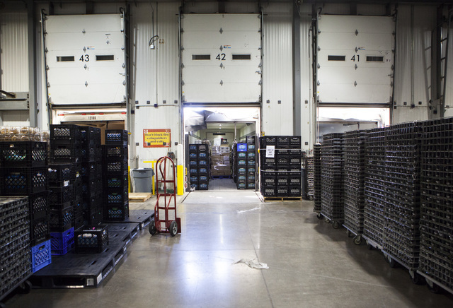 Various food items are seen stacked and ready to load onto trucks at the Clark County School District Food Service facility in Las Vegas Sept. 9. Miranda Alam/View