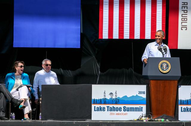 U.S. Sen. Dianne Feinstein, left, U.S. Sen. Harry Reid and President Barack Obama participate in the 20th annual Tahoe Summit in Stateline on Wednesday, Aug. 31, 2016. Obama was the keynote speake ...