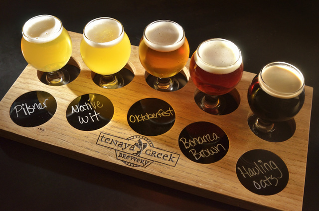 A flight of beers is shown in the tasting room at Tenaya Creek Brewery at 831 W. Bonanza Road on Friday, Sept. 9, 2016. (Bill Hughes/Las Vegas Review-Journal)