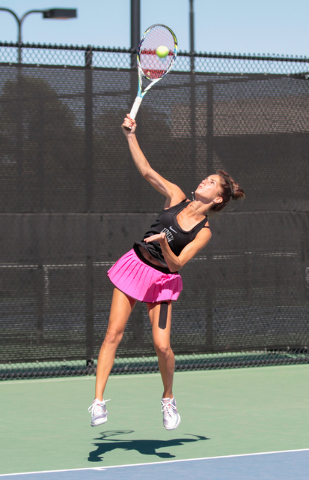 Women's UNLV tennis player Jovana Kenic returns a serve during a singles match at the Frank and Vicki Fertitta Tennis Complex on the UNLV campus in Las Vegas, Saturday, Sept. 24, 2016. (Donavon Lo ...