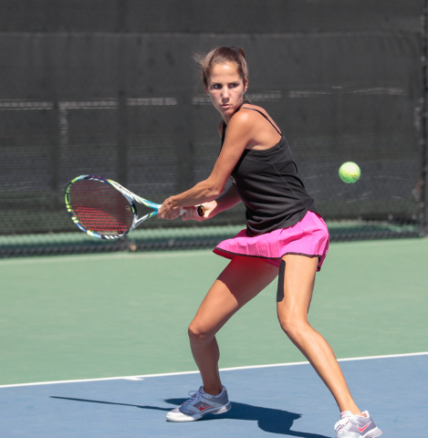Women's UNLV tennis player Jovana Kenic sets up to return the ball during a singles match at the Frank and Vicki Fertitta Tennis Complex on the UNLV campus in Las Vegas, Saturday, Sept. 24, 2016.  ...