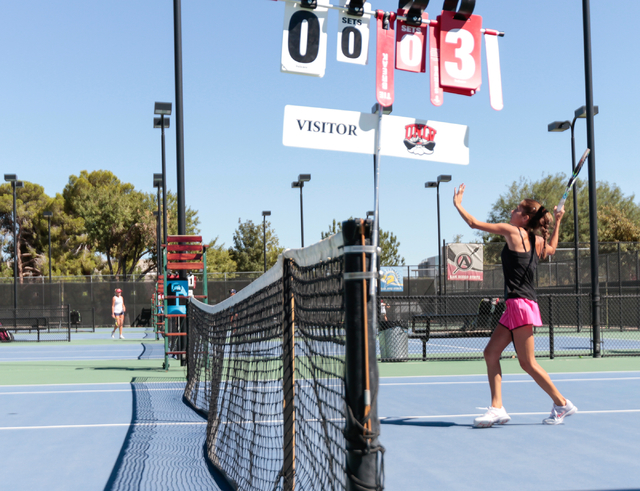 Women's UNLV tennis player Jovana Kenic plays close to the net during a singles match at the Frank and Vicki Fertitta Tennis Complex on the UNLV campus in Las Vegas, Saturday, Sept. 24, 2016. (Don ...