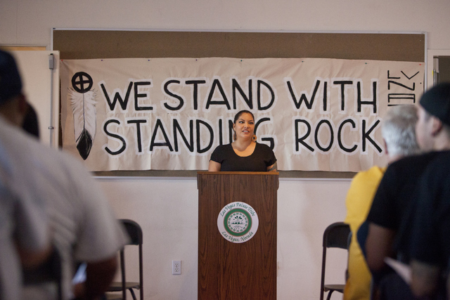 Fawn Douglas, a Las Vegas Paiute tribe member, speaks on supporting the Standing Rock Sioux tribe against the North Dakota pipeline construction on Wednesday, Sept. 7, 2016, in Las Vegas. (Loren T ...