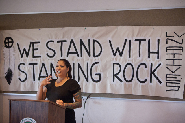 Fawn Douglas, a Las Vegas Paiute tribe member, speaks on supporting the Standing Rock Sioux tribe against the North Dakota pipeline construction on Wednesday, Sept. 7, 2016, in Las Vegas.(Loren To ...