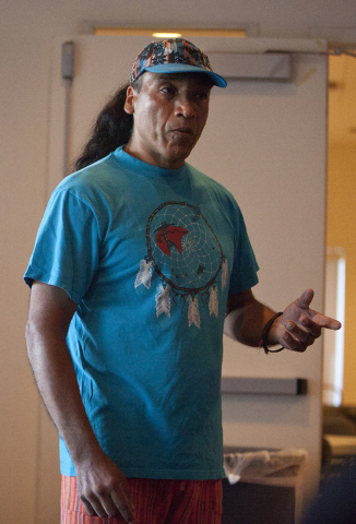 Marco Incaman speaks at a meeting hosted by the Las Vegas Paiute tribe on supporting the Standing Rock Sioux tribe against the North Dakota pipeline construction on Wednesday, Sept. 7, 2016, in La ...