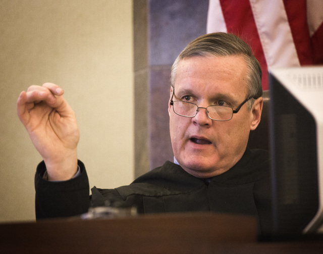 District Judge David Barker speaks during the sentencing of Markiece Palmer, Wednesday, January 21, 2015 at the Regional Justice Center, 200 Lewis Ave. Palmer was sentenced to life in prison witho ...