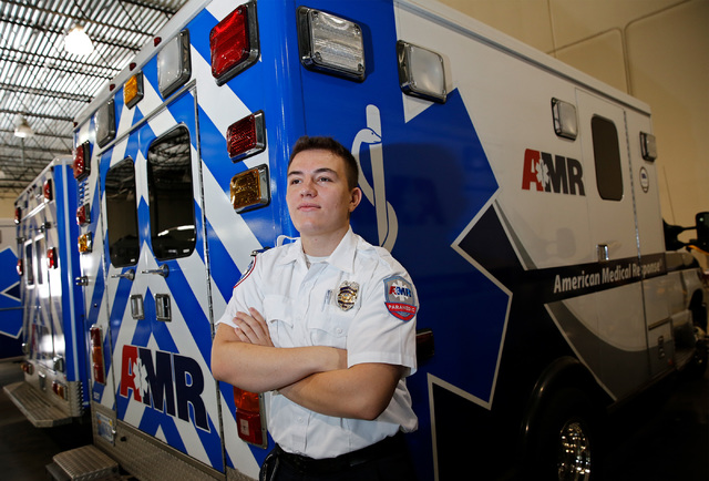 American Medical Response Paramedic Liridon Poliku poses for a photo at the company's garage in Las Vegas, Thursday, Sept. 22, 2016. (Chitose Suzuki/Las Vegas Review-Journal)