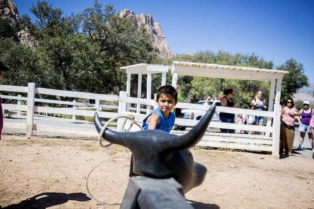 Sebastian Roca, 9, practices lassoing during Pioneer Day at Spring Mountain Ranch State Park in Las Vegas, Sat, Sept. 17, 2016. Elizabeth Page Brumley/Las Vegas Review-Journal Follow @ELIPAGEPHOTO