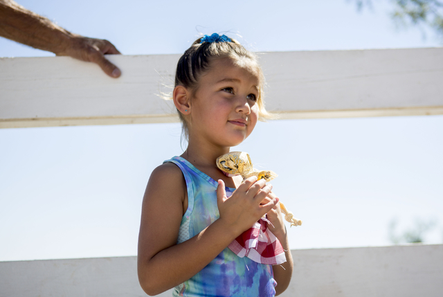 Zia Fisher, 5, holds her new hand made doll that she received during Pioneer Day at Spring Mountain Ranch State Park in Las Vegas, Sat, Sept. 17, 2016. Elizabeth Page Brumley/Las Vegas Review-Jour ...
