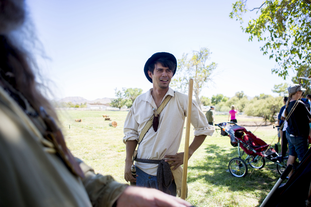 "Bill Corder plays the character ""Ricochet"" at Pioneer Day, talks with visitors at Spring Mountain Ranch State Park in Las Vegas, Sat, Sept. 17, 2016. Elizabeth Page Brumley/Las V ..."