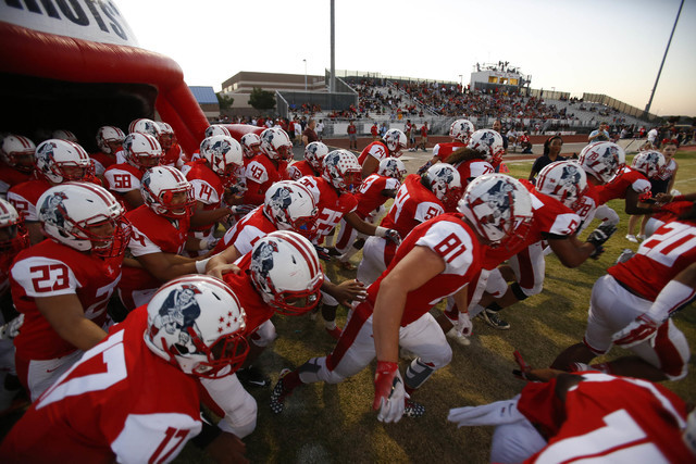 Liberty players take to the field before playing Desert Pines in a varsity football game at Liberty High School in Henderson on Thursday, Sept. 15, 2016. Richard Brian/Las Vegas Review-Journal Follow