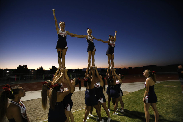 Liberty cheerleaders celebrate their team after scoring a touchdown against Desert Pines during a varsity football game at Liberty High School in Henderson on Thursday, Sept. 15, 2016. Richard Bri ...