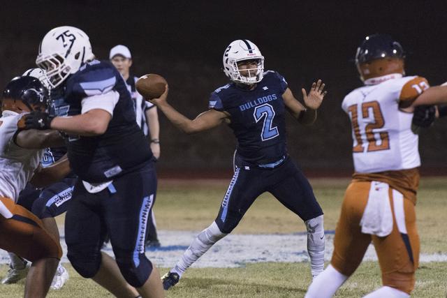 Centennial's Jamaal Evans (2) throws the ball during a football game against Legacy at Centennial in Las Vegas, Friday, Sept. 30, 2016. Jason Ogulnik/Las Vegas Review-Journal