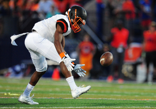 Cocoa, Fla., cornorback Javian Hawkins (3) recovers a Bishop Gorman fumble in the first quarter of their prep football game at Bishop Gorman High School in Las Vegas Friday Sept. 2, 2016. Josh Hol ...