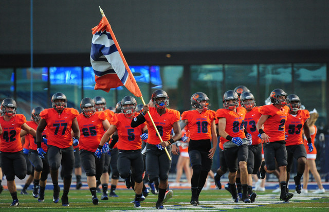 Bishop Gorman players take the field before the start of their prep football game against Cocoa, Fla., at Bishop Gorman High School in Las Vegas Friday Sept. 2, 2016. Josh Holmberg/Las Vegas Revie ...