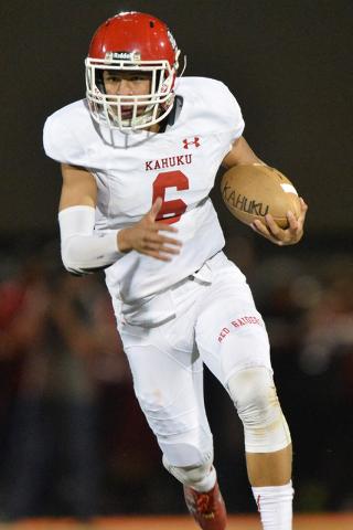 Kahuku quarterback Sol-jay Maiava (6) rushes for a touchdown during the Bishop Gorman High School Kahuku High School game at Bishop Gorman in Summerlin on Saturday, Sept. 17, 2016. Brett Le Blanc/ ...