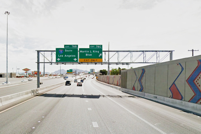Exit 76B on US-95 for I-15 southbound in Las Vegas. (Google Street View)