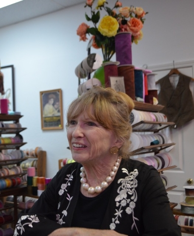 Carole Sidlow greets visitors at The Ribbon Store and Peter J. Sidlow — Advertising Antiques, 572 S. Decatur Blvd., on Aug. 25, 2016. Ginger Meurer/View