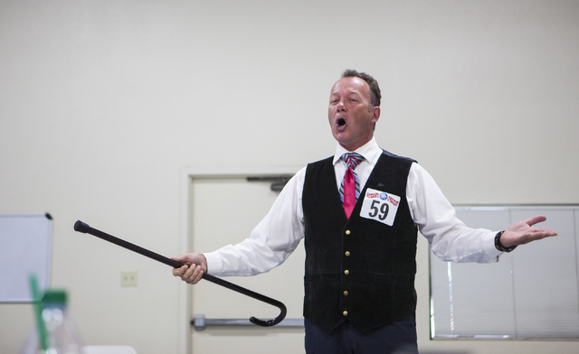 "With his trusty cane by his side, Las Vegan Timothy Cummings auditions to be the next ""Circus Xtreme"" ringmaster for Ringling Bros. Barnum & Bailey Circus. Las Vegas is one of four cities  ..."