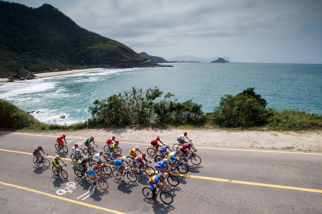 In this photo released by the IOC, cyclists compete in the men's road cycling race C4-5, during the Paralympic Games in Rio de Janeiro, Brazil, Saturday, Sept. 17, 2016. (Simon Bruty/OIS, IOC via  ...