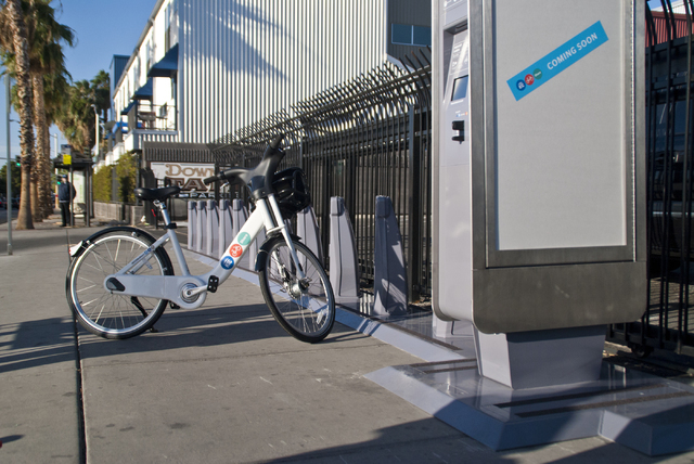 A new bike-sharing station near Fremont Street and Maryland Parkway awaits use in downtown Las Vegas on Friday, Sept. 23, 2016. The Regional Transportation Commission (RTC) will start a bike shari ...