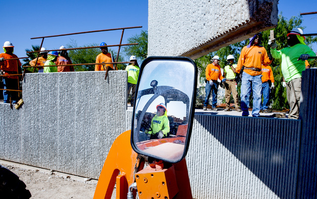Anthony Valdez operates a fork lift during a retaining wall  training class at Laborers Local 872 training center on Monday, Aug. 29, 2016. Nevada Department of Transportation, Kiewit Infrastructu ...