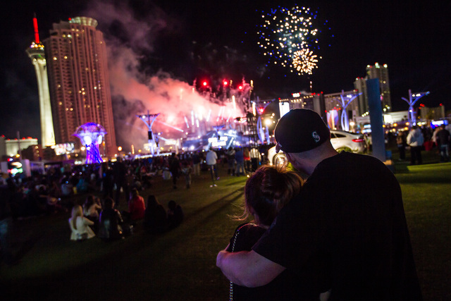 Attendees watch the fireworks during the Rock in Rio USA music festival in Las Vegas on Saturday, May 16, 2015. (Chase Stevens/Las Vegas Review-Journal) Follow Chase Stevens on Twitter @csstevensphoto
