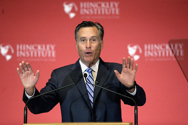 Mitt Romney weighs in on the Republican presidential race during a speech at the University of Utah, in Salt Lake City in March. (Brady McCombs/The Associated Press)