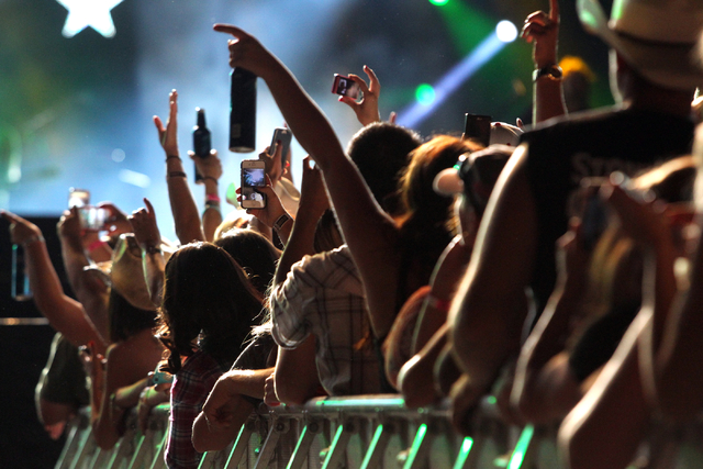 Fans cheer Brantley Gilbert during the Route 91 Harvest Festival at the MGM Resorts Village on the Strip on Friday, Oct. 3, 2014. (K.M. Cannon/Las Vegas Review-Journal)
