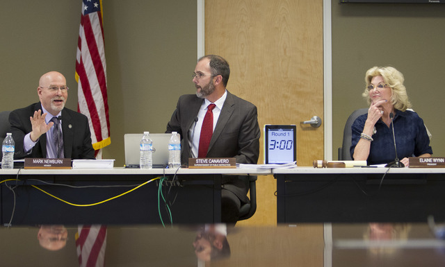 Nevada Department of Education members Mark Newburn, from left, Steve Canavero and Elaine Wynn are shown during a public hearing on the regulations needed to overhaul Clark County School District  ...