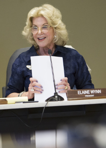 President of the Nevada Department of Education Elaine Wynn speaks during a public hearing on the regulations needed to overhaul Clark County School District at the Nevada Department of Education' ...