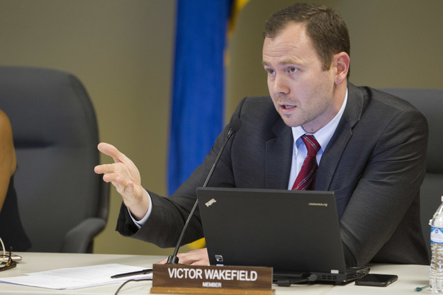 Member of the Nevada Department of Education Victor Wakefield speaks during a public hearing on the regulations needed to overhaul Clark County School District at the Nevada Department of Educatio ...