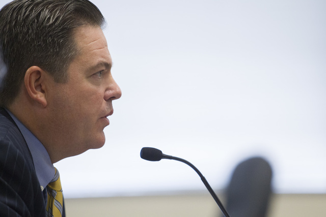 Sen. Michael Roberson speaks during a public hearing on the regulations needed to overhaul Clark County School District at the Nevada Department of Education's boardroom in Las Vegas on Thursday,  ...