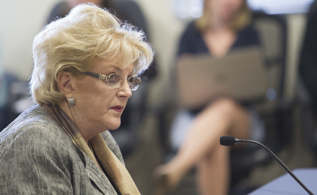 Las Vegas Mayor Carolyn Goodman speaks during a public hearing on the regulations needed to overhaul Clark County School District at the Nevada Department of Education's boardroom in Las Vegas on  ...