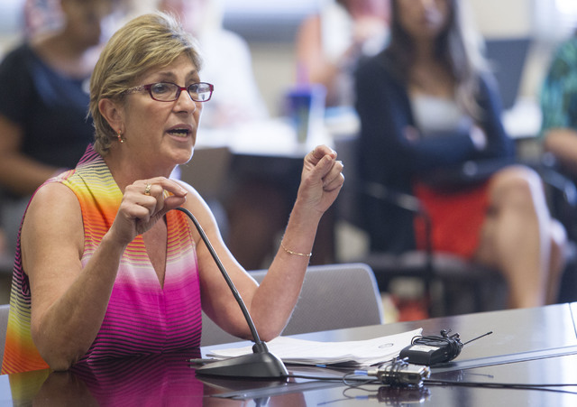 Clark County Commissioner Chris Giunchigliani speaks during a public hearing on the regulations needed to overhaul Clark County School District  at the Nevada Department of Education's boardroom i ...