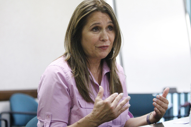 Victoria Seaman, candidate for Assembly District 34, speaks with the Review-Journal editorial board at the Review-Journal in Las Vegas Friday, July 25, 2014. (Erik Verduzco/Las Vegas Review-Journal)