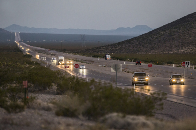 Cars traveling northbound on U.S. Highway 95 pass by Searchlight Airpark subdivision on Sunday, Sept. 4, 2016, in Searchlight, Nev. (Benjamin Hager/Las Vegas Review-Journal)