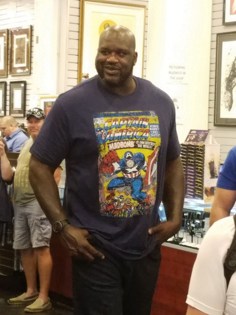 "Shaquille O'Neal checks out ""Pawn Stars'"" Gold & Silver Pawn Shop on Wednesday. (Gold & Silver Pawn)"