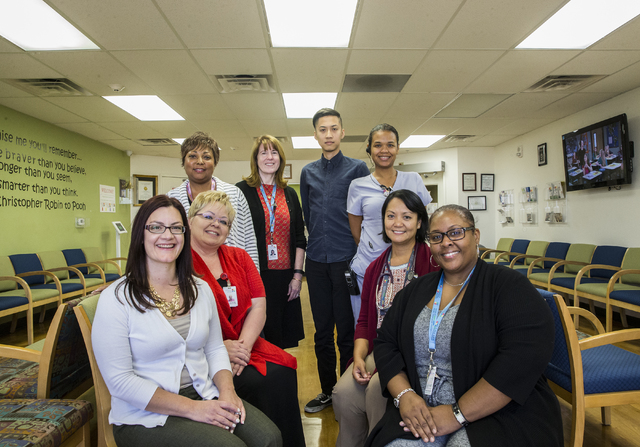 Medical staff Danielle Bello, left, Angela Berg, Kimberly Moffatt-Brazile, Sue Waltermeyer, Jordan Lipio, Monike Richardson, Dr. Nik Abdul Rashid and Tamiko Brooks at the Sickle Cell Treatment Cen ...