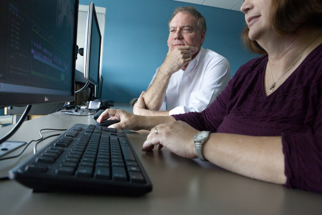 At Nevada State College in Henderson, film historian Jeff Crouse, left, and student editor Audrey Balzart review their documentary on silent movie performer Lassie Lou Ahern. (Loren Townsley/Las V ...