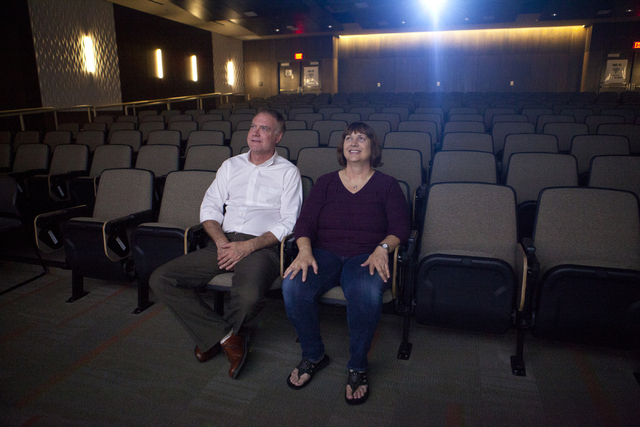 Film historian Jeff Crouse, left, and student editor Audrey Balzart watch their documentary about silent movie performer Lassie Lou Ahern at Nevada State College in Henderson. (Loren Townsley/Las  ...