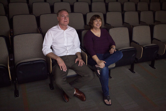 Silent film historian Jeff Crouse, left and Audrey Balzart watch their documentary on Wednesday, Aug. 24, 2016, at the Nevada State College in Las Vegas. (Loren Townsley/Las Vegas Review-Journal)  ...