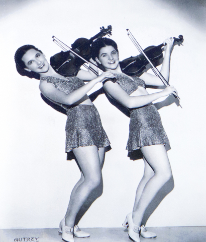 Lassie Lou Ahern and sister Peggy show off their dancing talents in this vintage photograph, featured in a documentary about Ahern's silent movie carerr. (Loren Townsley/Las Vegas Review-Journal)  ...