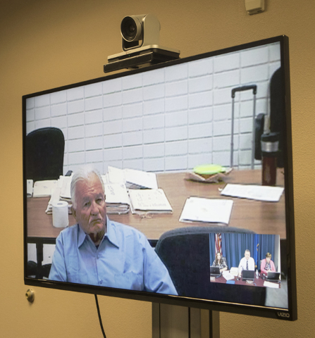 William Sites, convicted of murdering his wife, speaks to the Nevada Parole Board from the Northern Nevada Correctional Center in Carson City during a videoconferenced hearing on Wednesday, Sept.  ...