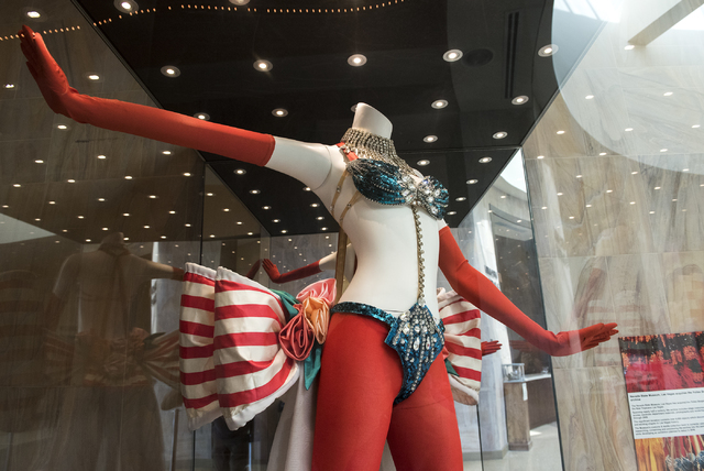 """A stage costume from """"The Les Folies Bergere"""" exhibit is seen at the Nevada State Museum Aug. 27. Martin S. Fuentes/View"""
