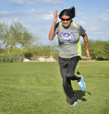 Dinorah Arambula trains at the Kellogg Zaher Soccer Complex at 7901 W. Washington Ave. in Las Vegas on Thursday, Sept. 1, 2016. Arambula, a kidney transplant recipient, plans to compete in the Wor ...