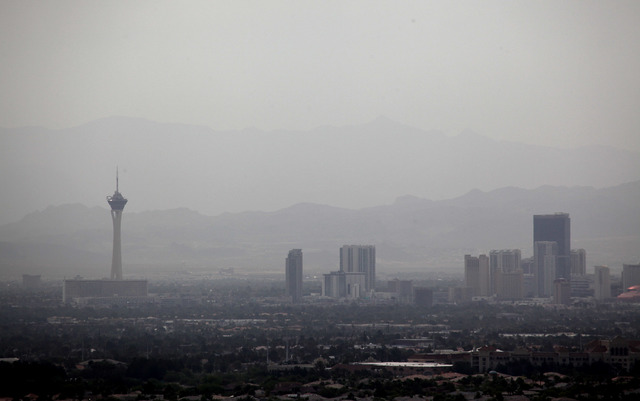 Dust fills the Las Vegas valley in this file photo. (Justin Yurkanin/Las Vegas Review-Journal)