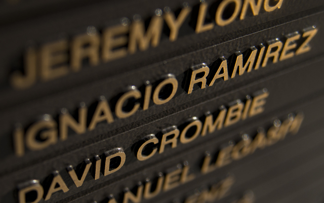 """The late U.S. Army Spc. Ignacio """"Nacho"""" Ramirez's name is among those on a monument at the Southern Nevada Veterans Memorial Cemetery in Boulder City, seen Aug. 9. Ramirez, a Basic High School gra ..."""