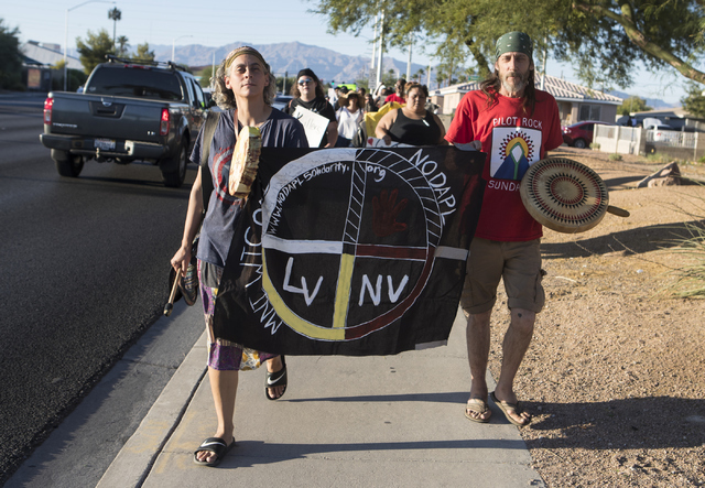 Demonstrators protest the North Dakota pipeline construction during the 1st Annual Solidarity Day March on Saturday, Sept. 17, 2016 in North Las Vegas. Loren Townsley/Las Vegas Review-Journal Foll ...