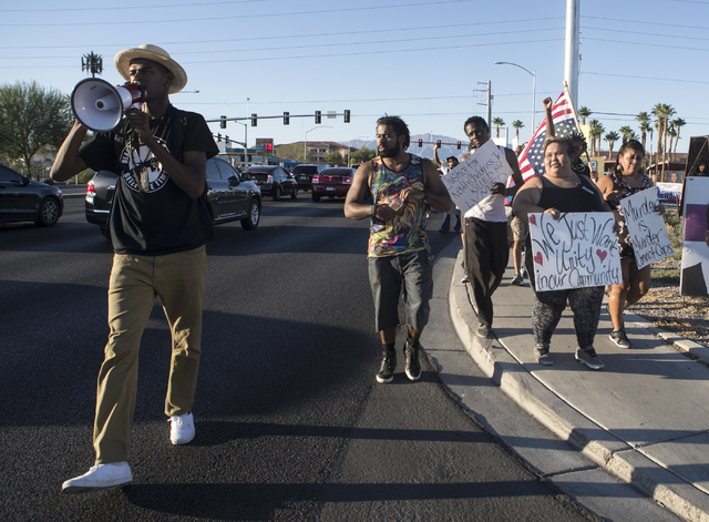 """Vance """"Stretch"""" Sanders, left and the other demonstrators participate in the 1st Annual Solidarity Day March on Saturday, Sept. 17, 2016 in North Las Vegas. Loren Townsley/Las Ve ..."""